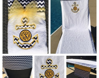 Crazy for Chevrons!!! Custom Chevron Beach Towel or Lounge Chair Towel