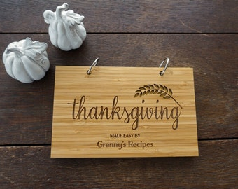 Thanksgiving Recipe Book Personalized Family Favorite Recipes Book Housewarming Hostess Present Holiday Stocking Stuffer Kitchen Notebook