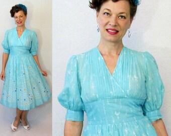 50s Dress / 1950s Dress / 50s Day Dress / 1950s Day Dress / Novelty Print Dress / 50s Novelty / Day Dress / Cotton Dress / Summer Dress