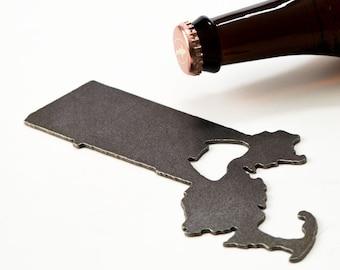 Massachusetts MA State Metal Bottle Opener Gift  for Him Her Kitchen Spring Decor Kitchen Bar Rustic Home Valentine's Day Groomsmen Beer