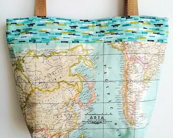 Handmade waterproof map design fabric tote bag