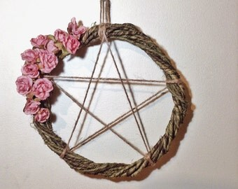 Pentagram Wreath, Hanging Pentacle, Pagan Wiccan Decoration