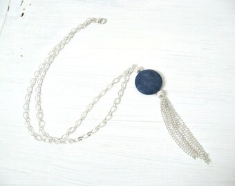 Long layer statement silver necklace with blue jade tassel and round silver pendant