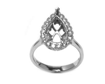 12x8mm Pear Shape Halo Diamond Ring Semi Mount in 14K White Gold Sale by Best in Gems (20186)*