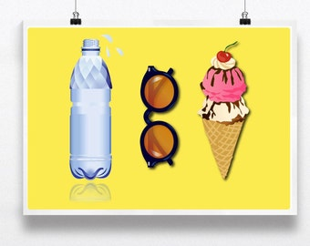 Graphic illustration print poster Summer feel