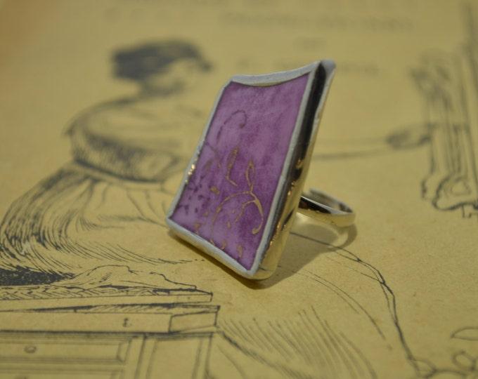 Porcelain violet ring from vintage Belgian plate