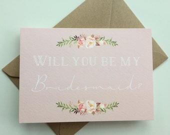 Will you be my Bridesmaid Card. Wedding card. Bridal party. Be my. Maid of Honor. Pretty. Pink. Floral