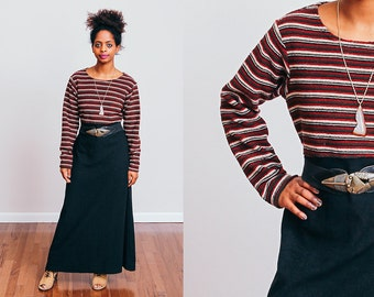 1990's Striped Black Henley Maxi Dress -Maroon Green Cream - Tie back - Grunge • M/L