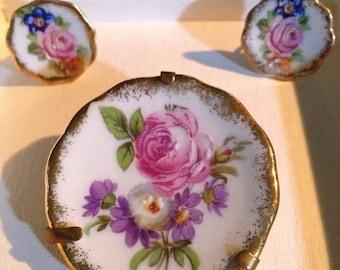 ON SALE - Porcelain d'Art Limoges Brooch/Pin and Earrings Set