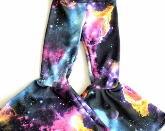 Kids UV Galaxy Print Bell Bottom Flared Rock Star Pants  Sizes 2T 3T 4T and 5-12   152473