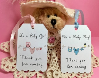Baby shower tags, Baby shower favors, Thank you tags baby shower, Baby favors tags, Thank you for coming tags, Baby boy tags, Baby girl tags