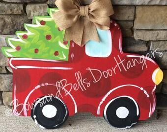Christmas tree truck doorhanger, christmas wreath, Christmas door hanger, winter wreath, mason jar door hanger, Christmas decor, winter door