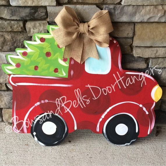 Christmas Tree Truck Doorhanger Christmas Wreath Christmas