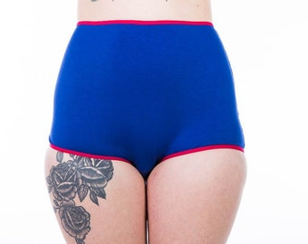 PREORDER Blueberry High Waisted Period Panties, Bleed on a Politician! Customizable, Feminist Underwear