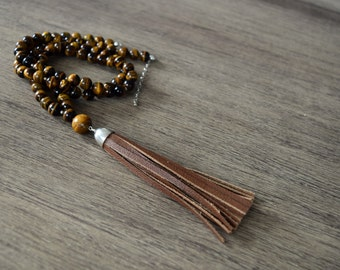 Tigers Eye Tassel Necklace, Inspiration Necklace, Leather Tassel Necklace, Long Brown Necklace, Inspirational Gift, Leather Jewelry, Tan