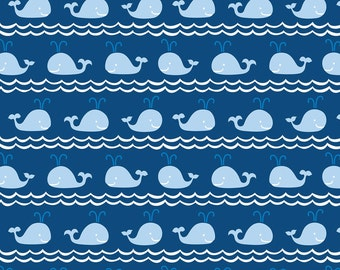 True Blue Whales on navy fabric designed for Blend Fabrics by Ana Davis