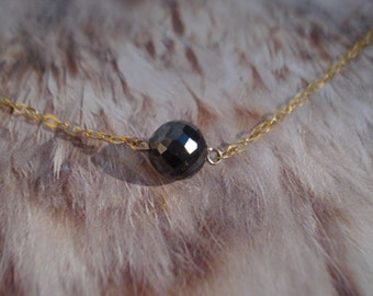 Black Diamond Pendant - 18 K Gold Filled Necklace - Jet Black Diamond Necklace K234