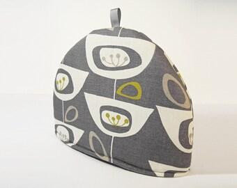 Retro Seedhead mid century atomic Vintage fabric Tea cosy - Slate Grey