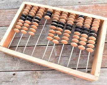 Vintage Soviet Era Large Wooden Abacus/Soviet Wooden Frame Calculator. Made in USSR
