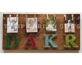 Monogram String Art Photo Hanger, Initial String Art Photo Hanger, Family Photo Display, String Art Photo Display, Family Photo String Art