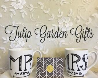 Personalized Set of Mr. & Mrs. Coffee Mugs, Hand Painted Mug, Wedding Date Mug
