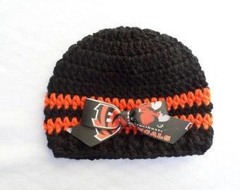 Baby Hat, Cincinnati Bengals, Hand Crochet, sizes Newborn or 3-6 months