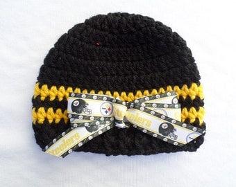 Baby Hat Pittsburgh Steelers, Hand Crochet size Newborn, 3-6 months