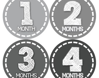 Monthly Baby Stickers, Neutral Monthly Bodysuit Stickers, Monthly Stickers, Baby Month Stickers, Baby Monthly Stickers, Greys  435