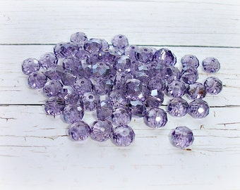 20 Lilac Purple Rondelle Glass Beads 6 mm x 8 mm