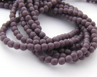 NEW Opaque Purple 2mm Smooth Round Czech Glass  Beads 100pc #3088
