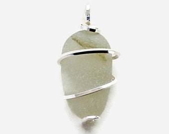 Wire Wrapped Sea Glass with Hand Forged Sterling Silver Pendant, White Beach Glass Necklace