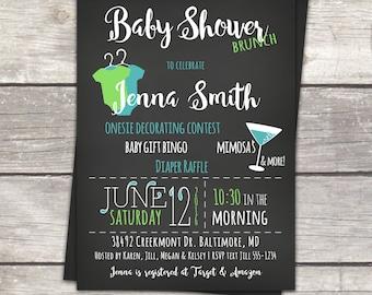 Chalkboard baby shower invitation, brunch baby shower, teal, blue, or custom colors, digital files PDFs