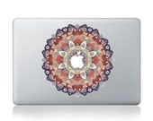 Macbook 13 inch decal sticker red kaleidoscope and apple art for Apple Laptop