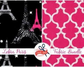 PINK & BLACK PARIS Fabric Bundle Fabric by the Yard, Fat Quarter Hot Pink Black Fabric Quilting Fabric 100% Cotton Fabric Apparel Fabric