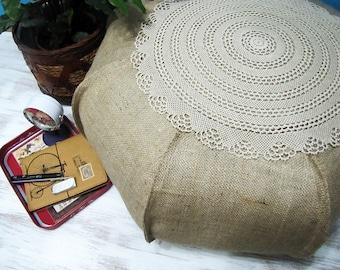 Hippie Bohem Natural  Burlap  Ottoman Pouf Case /Casual Shabby Housewarming Gift/Home Decor