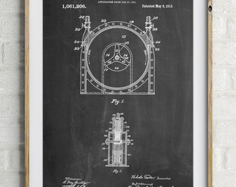 Tesla Turbine Patent Poster, Nikola Tesla, Technology Art, Physics Poster, PP1097
