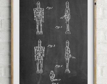 Star Wars IG-88 Assassin Droid Patent Wall Art Poster, Empire Strikes Back, Star Wars Art, Star Wars Characters, Starwars Poster,  PP0646