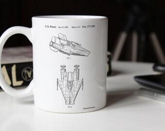 Star Wars RZ-1 A Wing Starfighter Patent Mug, Starwars Mug, Return of the Jedi, Star Wars Gift, Star Wars Ships, PP0515