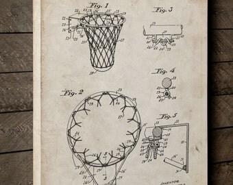 Vintage Basketball Hoop Canvas Art, Canvas Wall Decor, Basketball Gift, Basketball Patent, Basketball Wall Decor, PP0323