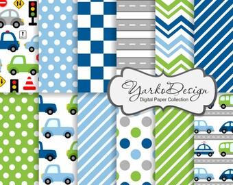 Cars Digital Paper, Blue Green Cars Pattern, Vehicle Digital Background, Transportation, Illustration, Truck  - Instant Download - YDP008