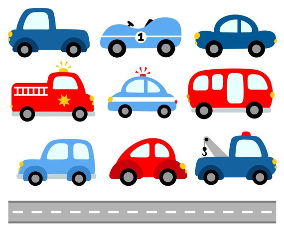 Cute Cars Digital Clip Art Transportation Clipart Blue Red