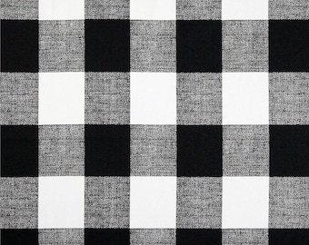 SHIPS SAME DAY Black and White Buffalo Check Fabric, Designer Drapery Fabric, Black White Plaid Check Fabric, Upholstery Fabric by the yard