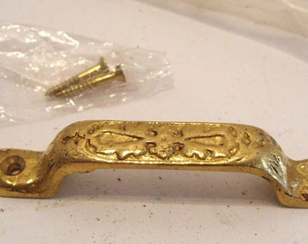 Victorian Brass Drawer Pull with 3 Inch Spacing New Old Stock