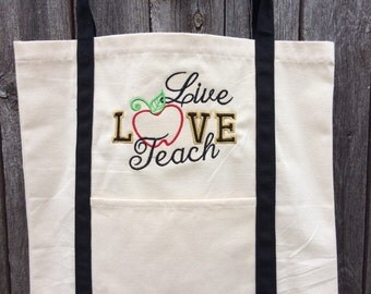 Teacher gift, canvas tote, teacher tote, personalized teacher gift, gift, teacher, tote, bag, teacher bag, teacher appreciation, teachers