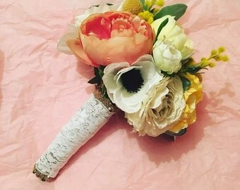 Silk flower bridal wedding bouquet