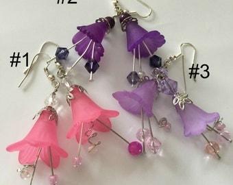 Charming Flower/ Fairy Earrings /Lucite Flower Earrings