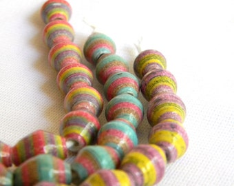 Paper Bead Jewelry Supplies - Paper Beads - Hand painted - Lot of 30 - #1432
