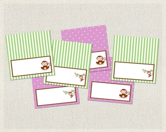 Purple Food Tent Cards Labels Birthday Monkey Polka Dots Green 1st 2nd 3rd Printable Girls IV-2