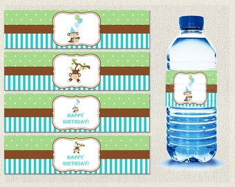 Printable Water Bottle Labels Wraps Birthday Monkey Brown 1st 2nd 3rd Green Blue Boys IV-3