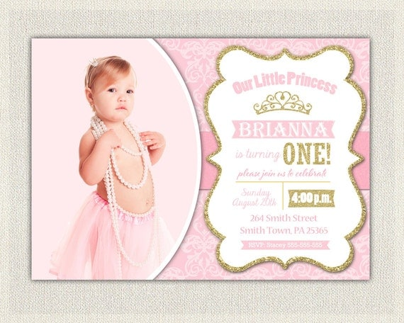 First Birthday Invitation Gold and Pink Princess Invitations – 1st Birthday Princess Invitation